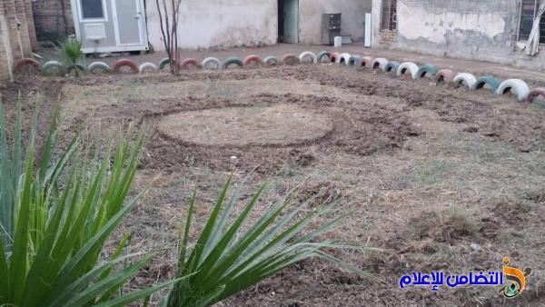 تنظيم حملة تنظيف وترتيب لواجهة وحديقة مبرة التضامن السابعة في الرفاعي - مصور-