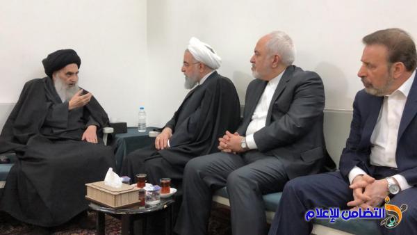 المرجع السيستاني يستقبل الرئيس الدكتور حسن روحاني في منزله بالنجف