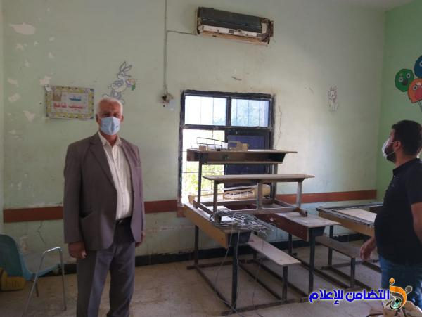وفد مكتب مبرات التضامن للأيتام يزور مدرسة التضامن الثالثة في قضاء الجبايش مطلعاعلى أعمال الصيانة