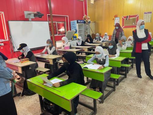 بدء الامتحانات النهائية للسادس الابتدائي  في مدارس ومبرات التضامن للأيتام في ذي قار